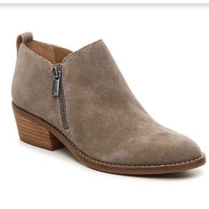 Lucky Brand Fineses Taupe Suede Booties
